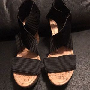 Seychelles Shoes - Seychelles black strappy cork wedges